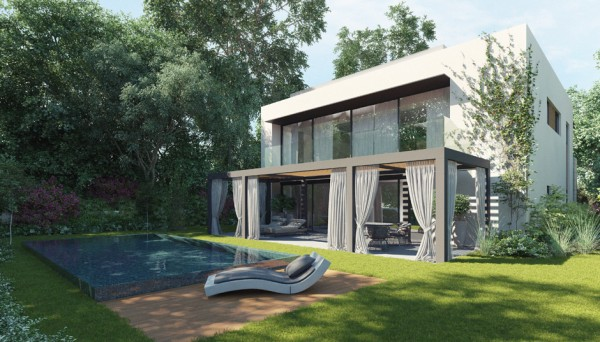 The boxy shape of this house is certainly modern, but it rises to two stories for ample interior space. The back patio has curtains and a canopy so that the outdoor area can be enjoyed in any weather while an in-ground pool shimmers with beautiful blue tiles.