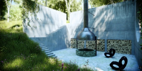 A personal firepit in the sunken outdoor space means entertaining and relaxing are easy and luxurious.