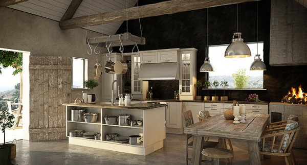 Here Norema manages to create a modern feeling in an aging and rustic home with a pot rack hanging from overhead beams and glass-front cabinetry so that the home chef can see whatever is inside.