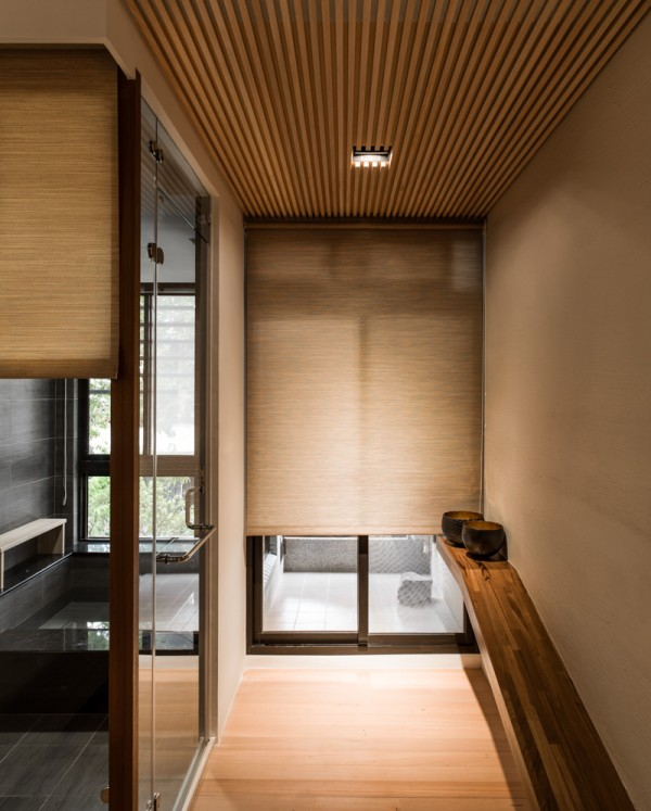 Wood panel entryway for Contemporary zen interior design