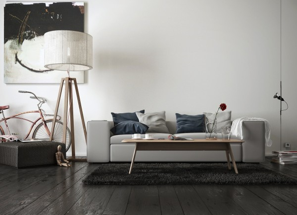 More artsy than high art, this simple living room could easily find its home in an urban loft.