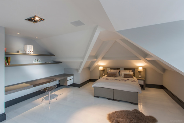 clean attic bedroom