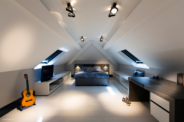 comfy attic bedroom