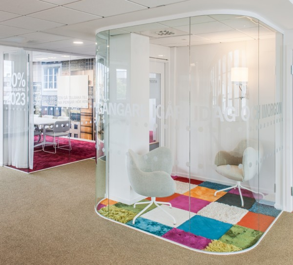 "Even an open office space can do with private one-on-one sessions sometimes. These clever ""phone booths"" don't offer much in the way of physical privacy, but they are a perfect place for any sensitive discussions."