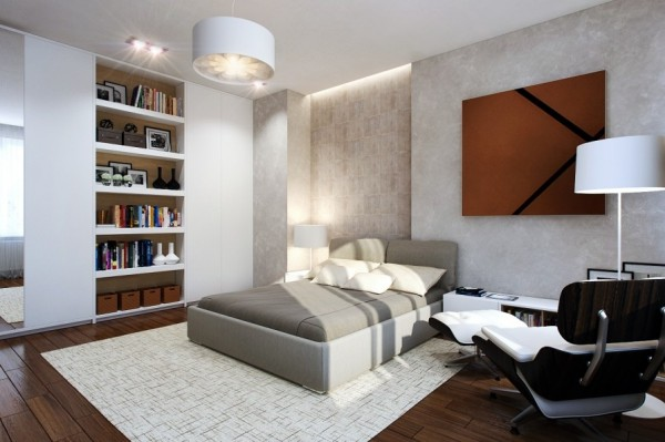 It is important for any bedroom to reflect the personality of whoever sleeps there. This bedroom could easily be home to a booklover with its extensive built in shelving. By nestling the shelves into the wall, less floor space is compromised, giving the small room a more open feelings.