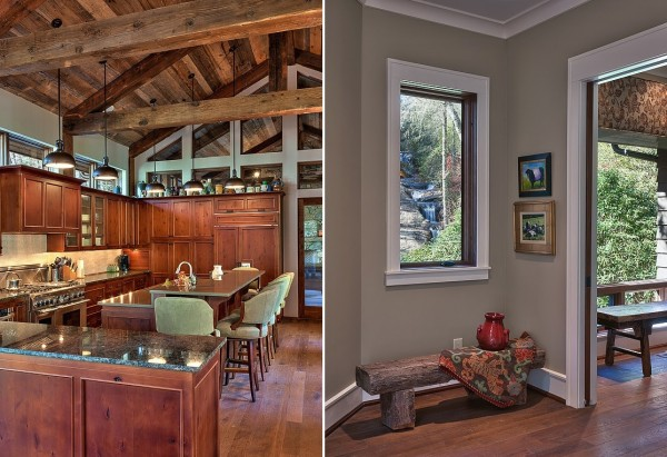 Despite its remote location, the cabin's kitchen has all the modern accouterments any gourmet chef could want and can serve as its own informal gathering place with a long breakfast bar area.