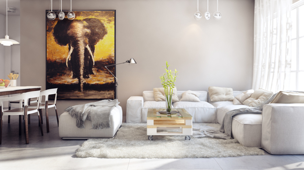 This home offers more in the way of floor space, but features many design elements that are similar to the first, smaller apartment. Neutral colors dominate the living area, with a particular angle on gray, reflected even in the large elephant painting.