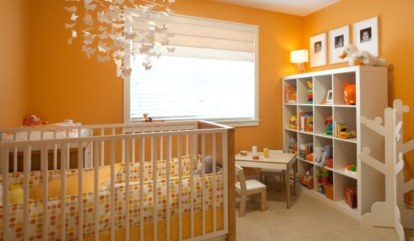 orange nursery 600x350 - Colorful Interiors