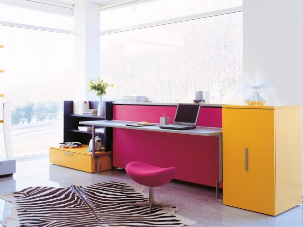 A deep pink desk stool is ergonomic and stylish.