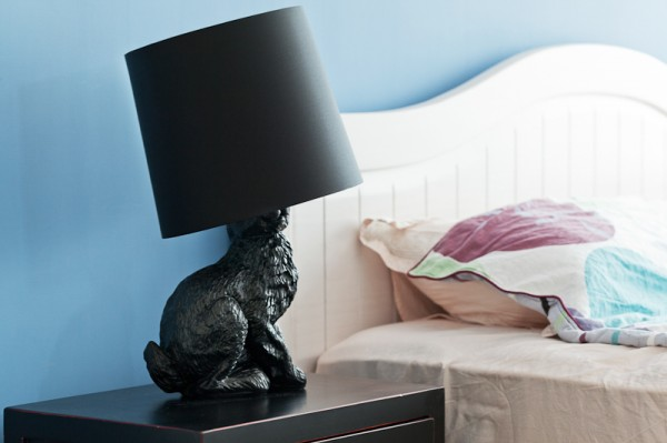 Of course, what bedroom is complete with a slightly funky rabbit lamp on the bedside table.