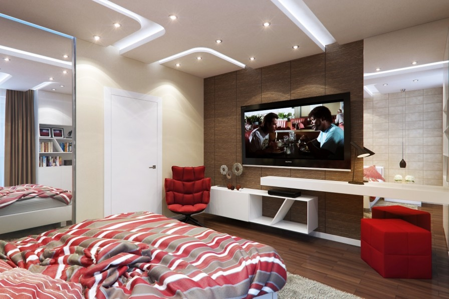 httpwwwhome designingcomwp contentuploads201310red bedroomjpeg houses pinterest red bedrooms bedrooms and bedroom tv - Modern Bedroom Pictures With Tv