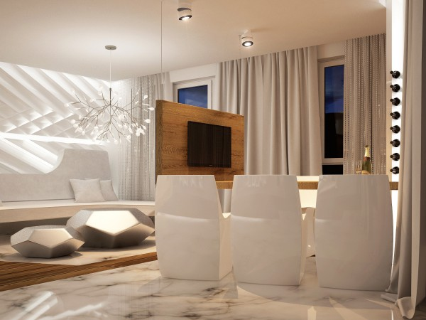 sleek white dining chairs