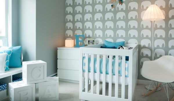 teal nursery design 600x350 - Colorful Interiors