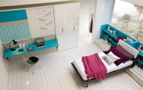 With plenty of built in shelving, this girl's room is both stylish and practical.