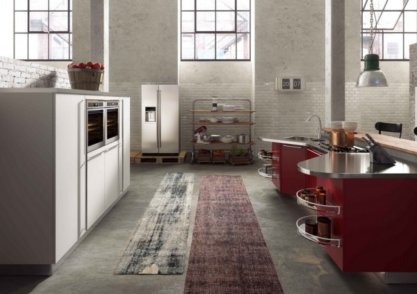 wine colored kitchen