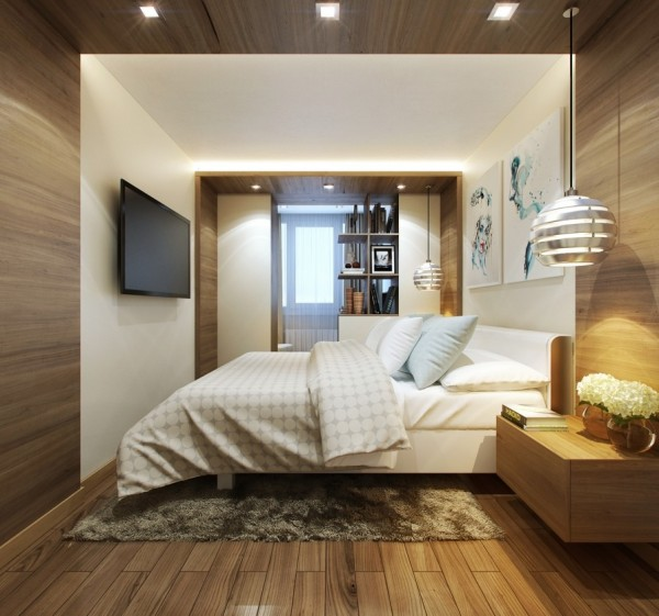 This room uses dividers to great effect with a wood panel running across the ceiling and hanging dividers cordoning off a small reading nook. By adding more separate spaces, the room becomes more comfortable if not any bigger.