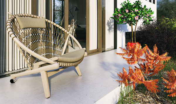 Just because furniture is outdoors does not mean it should be short on style. This woven chair could have stepped out of Mexico and found its home on this sunny patio.