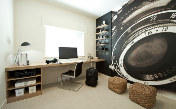 This Home Studio Celebrates The Users Vocation, With A Bespoke Photography  Wall Paper. You