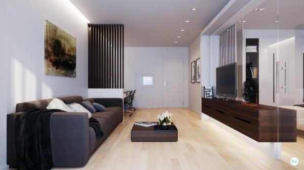 The beech wood floor works nicely along side the richer walnut tone of the sleek entertainment unit and coffee table.