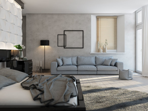 Excess square footage allows a lounge area to be situated within the sleep space, great for lazy afternoon reading–or just for throwing the days clothes onto!