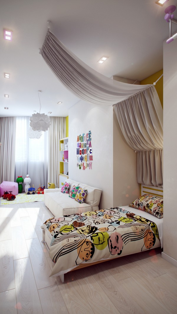 13 Modern white kids room 600x1066 - cute & stylish Kids Rooms