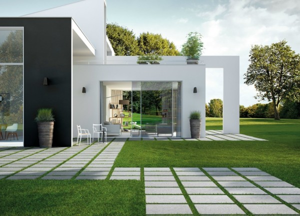 This regimented patio attempts to tame its natural habitat with straight calculated lines.