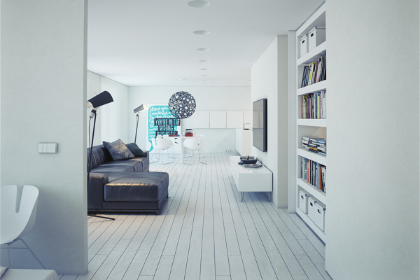 White open plan home