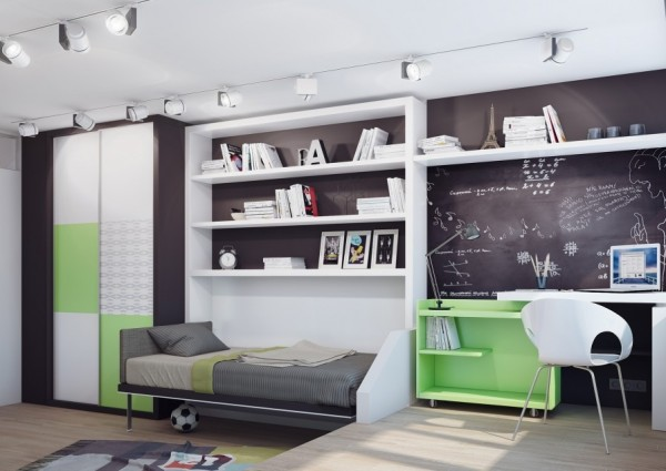 15 Green white teenage bedroom 600x425 - cute & stylish Kids Rooms