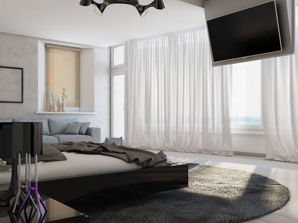 A ceiling mounted panel allows a large flatscreen TV to be mounted high above the bed so that there is no need to rise out of warm covers to watch breakfast TV or late night movies.