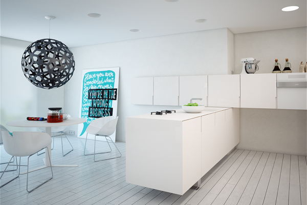 The kitchen units meet in an interesting T-shape, creating an attractive link between the cooking and dining areas.