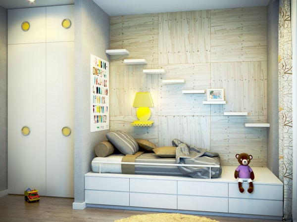 17 yellow white kids room 600x449 - cute & stylish Kids Rooms