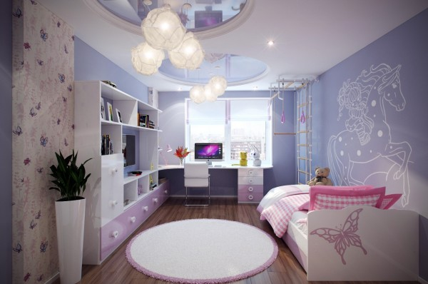 2 Purple pink kids room 600x398 - cute & stylish Kids Rooms