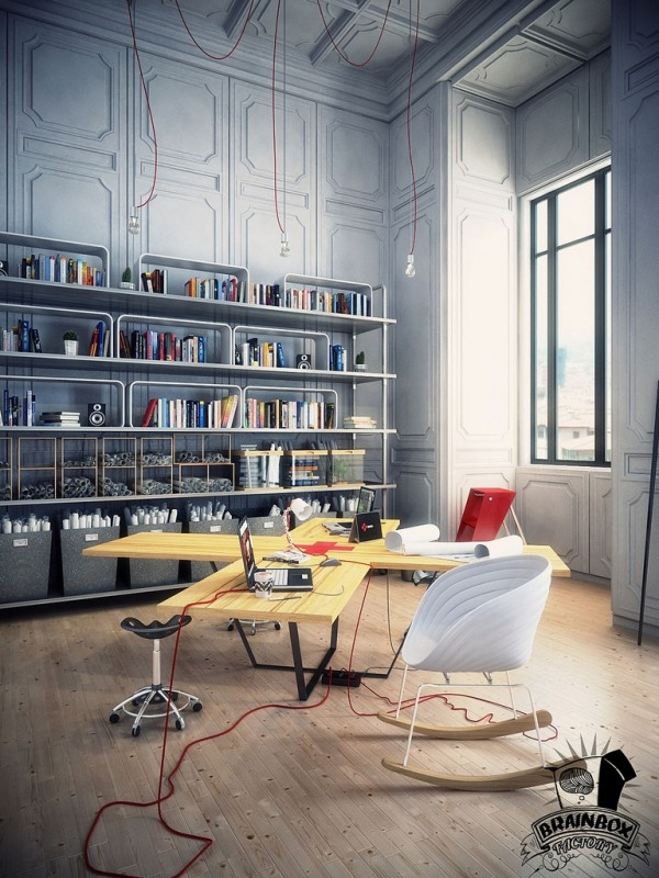 This amazing desk design would be perfect for multitasking or multi-users, depending on your needs. In this scenario, some spokes of the desk can be used for computer work, whilst the other side is free for unfurling plans.