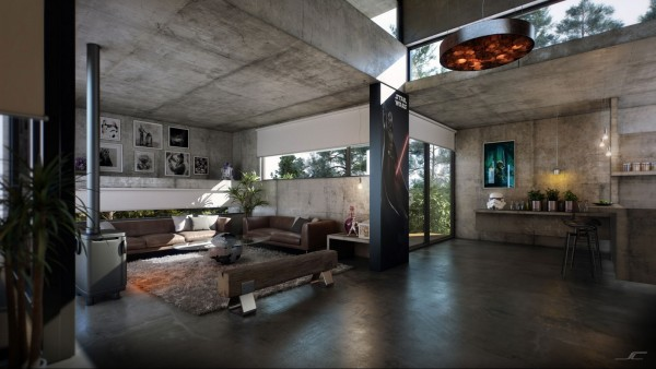 The interior celebrates a mixture of industrial design and memorabilia from cult science fiction movie Star Wars. Exposed concrete surfaces span the ceilings, walls, floors and even the built in furniture, as benches and shelves appear to extrude from the cold perimeter.