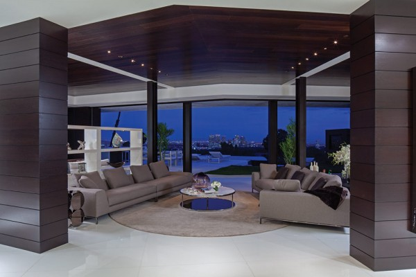 Luxury Mansion Living Room : separate guesthouse is accessed by glass-enclosed spiral staircase ...