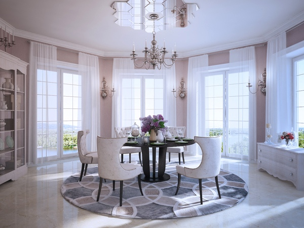 Contemporary meets classic in this dining room setup, with traditionally upholstered chairs gathered under an unusual mirrored ceiling rose design, created by individual hexagonal tiles.