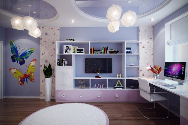 3 Purple girls bedroom 600x399 - cute & stylish Kids Rooms