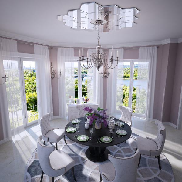 Mirrored ceiling rose