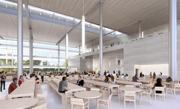 A lofty cafeteria provides the workers with an airy space to eat and exchange ideas.