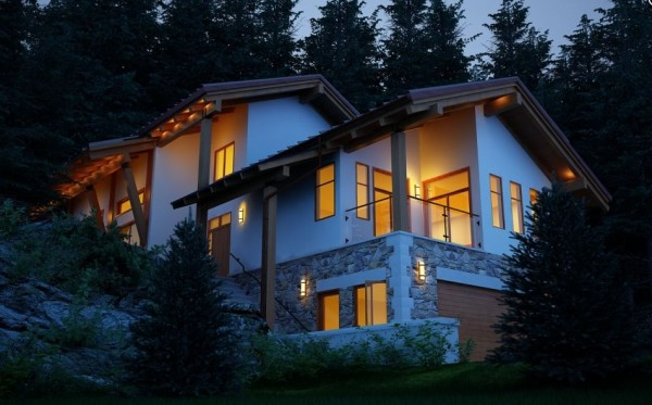 A more traditional feeling is created is this grand example of architecture, with sloping roofs and timber pillars typical of a ski chalet.