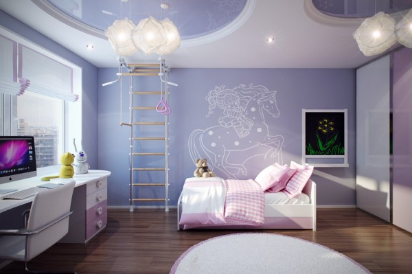 4 Purple pink girls decor 600x399 - cute & stylish Kids Rooms