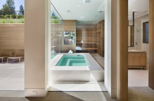 Beside the bathroom, a jacuzzi and steam room provide opportunities for relaxation after a long day of work, and a wall of uninterrupted glass allows the outdoors and sunshine inside.