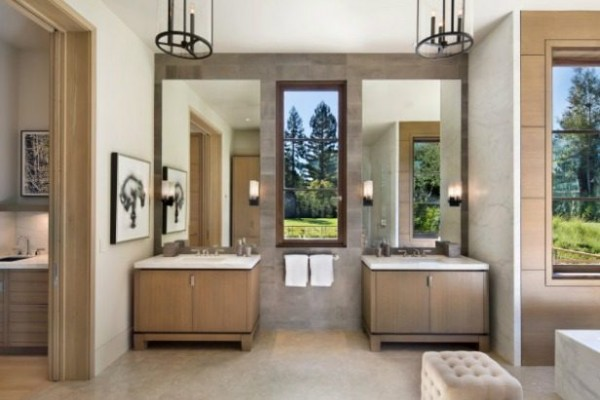 Twin bathroom basins could allow a double speed morning routine.