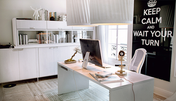 White chic home office