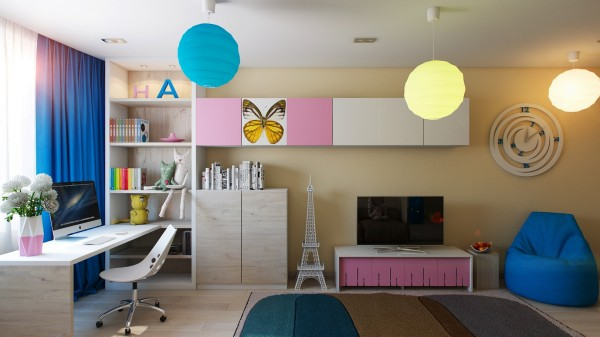 9 Pink blue girls room 600x337 - cute & stylish Kids Rooms