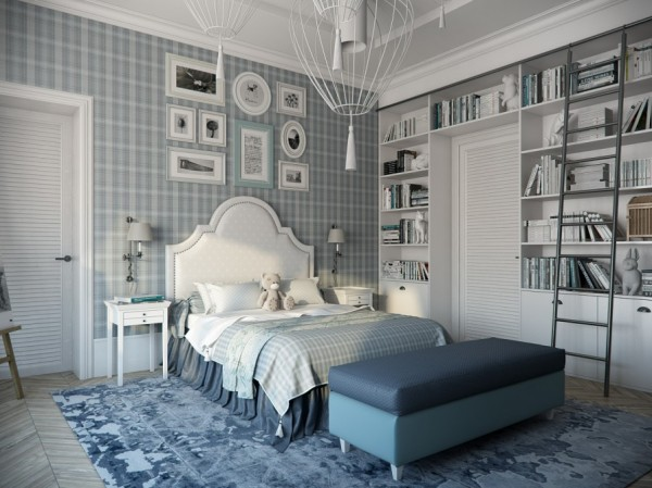 The cool blue tones and creative pattern use in this bedroom make it the perfect transition room for a young girl.