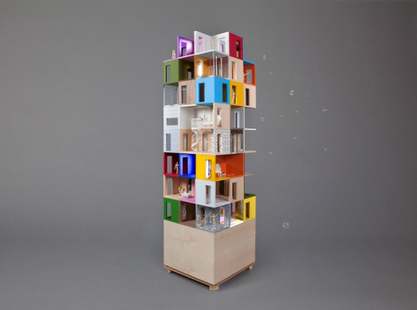 """A dolls' house made of three-sided rooms"" by Lifschutz Davidson Sandilands has a title that largely describes its look, box rooms stacked high."