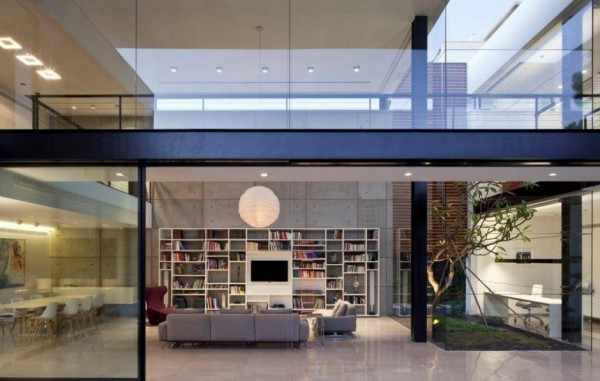 glass exterior walls