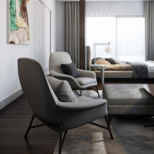 matching gray modern chairs