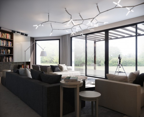 The focal point of this living are is a creative sculpted light fixture that hands from the ceiling. With bulbs branching out at every angle, the fixture is reminiscent of a futuristic tree.